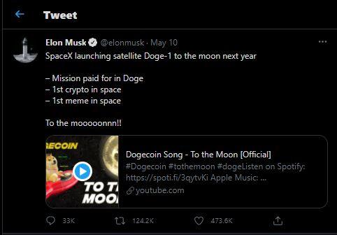Tweet Elon Musk yang Berencana Membawa Dogecin ke Bulan - Image: Twitter